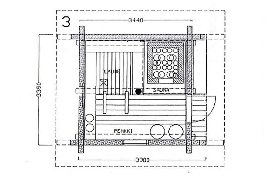 Risto Vuolle-Apialan suunnitteleman savusauna malliston yksinkertaisin savusauna on Vihtori